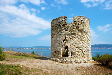fortify: Ancient watchtower in old city of Nessebar, Bulgaria Stock Photo