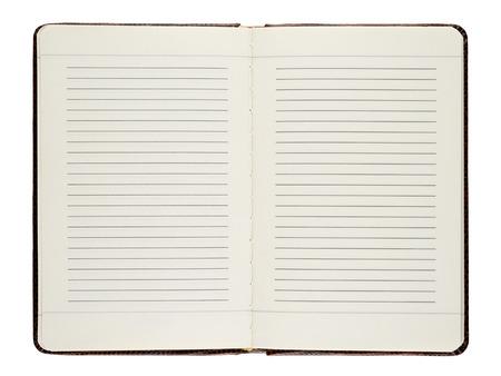 白い背景に分離されたオープン日記