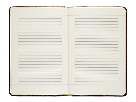 libro abierto: Abra el diario aislado en fondo blanco Foto de archivo