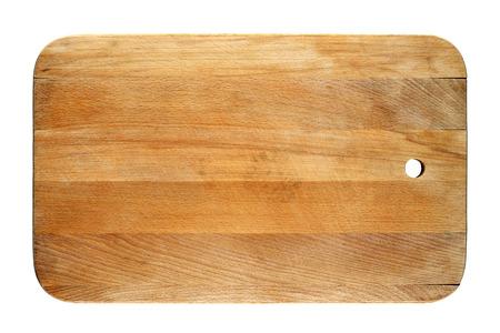 白い背景に分離された古いまな板