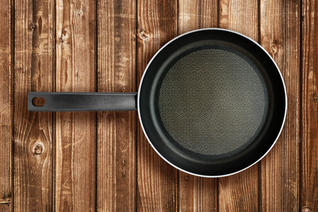 table top: Frying pan on wooden table top view