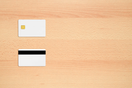 copyspace: Mock-up of credit card on office desk with copy-space
