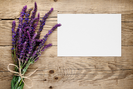 wooden table top view: Bunch of salvia and blank greeting card on wooden background Stock Photo