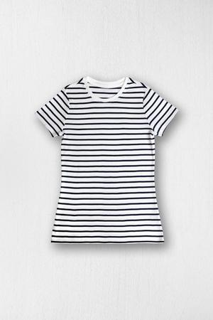 short sleeved: Striped womens t-shirt Stock Photo