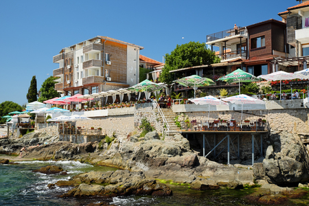 seaside: SOZOPOL, BULGARIA - JULY 19: Seaside hotels and restaurants on July 19, 2015 in old town of Sozopol, Bulgaria. Sozopol is one of popular seaside resorts in Bulgaria. Editorial