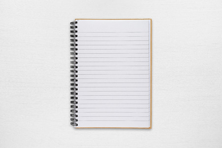 blank note: Notepad on white table Stock Photo