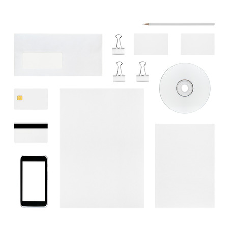 smart card: Isolated objects for branding identity - letterhead, business cards, envelope, pencil, cd or dvd, binder clip, smart card, magnetic stripe card, smartphone Stock Photo