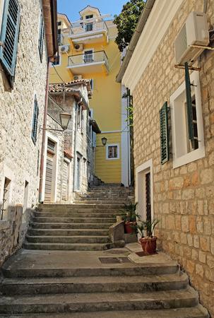 footway: Typical narrow street in town of Herceg Novi, Montenegro
