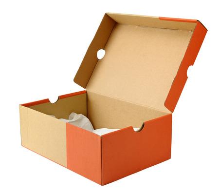 shoe box: Empty shoe box isolated on white background