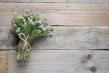 tomillo: Tomillo sobre fondo de madera