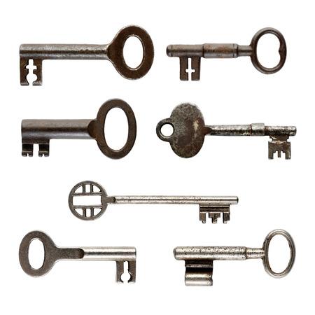keys isolated: Set of old keys isolated on white background Stock Photo
