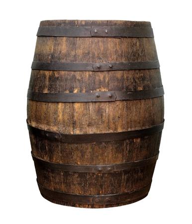 Vecchio barilotto di vino di legno isolato su fondo bianco