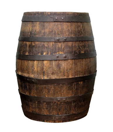 Old wooden wine barrel isolated on white background