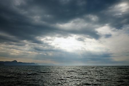 sky cloud: Storm clouds over sea