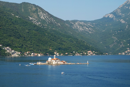 Island Our Lady of the Rocks off coast of Perast in Kotor Bay, Montenegro
