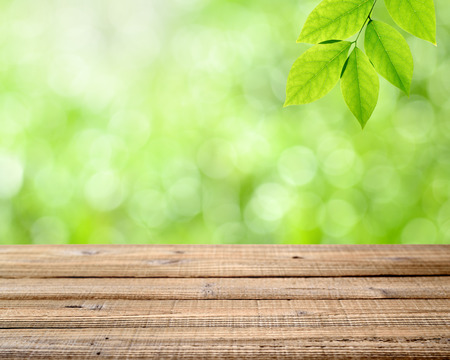 depth: Wooden table with nature background and green leaves. Shallow depth of field Stock Photo