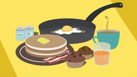 sunny side up: Morning breakfast consisting of pancakes with butter, eggs with the sunny side up, tea   coffee, orange juice , chocolate muffins and salt and pepper