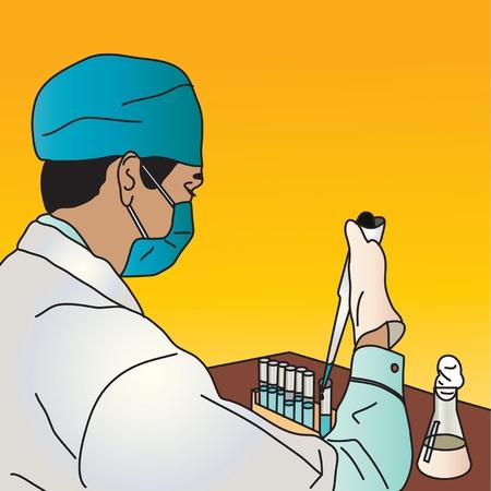 El hombre de pruebas en un laboratorio con tubos de ensayo Ilustración de vector