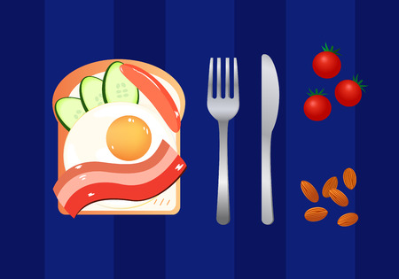 delicious: Delicious breakfast. Vector illustration.