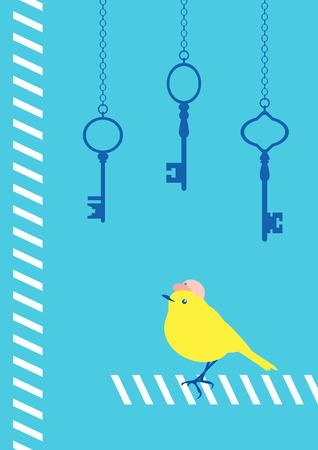 paso peatonal: pájaro en el paso de peatones con llave Vectores