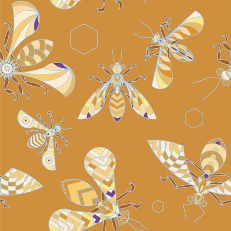 Crystal bees - full color seamless pattern