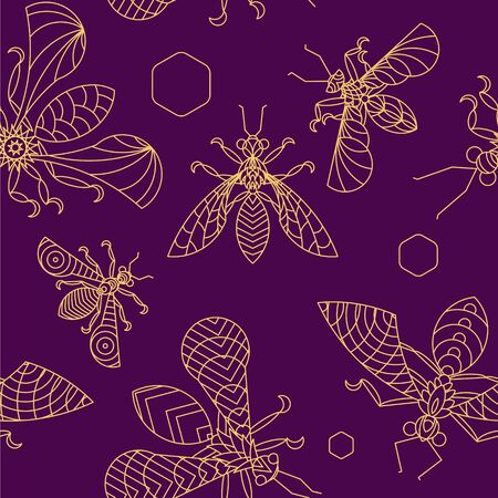 Crystal Bees - lineart Seamless Pattern