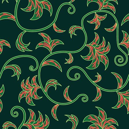 Tropical Leaves Climbing Plants Seamless Pattern