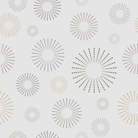 Cute Circle Rays Seamless Pattern 일러스트