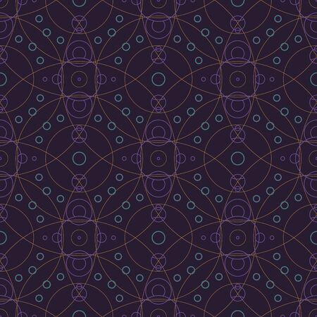 Starlight Night Circles Seamless Pattern Vektorové ilustrace