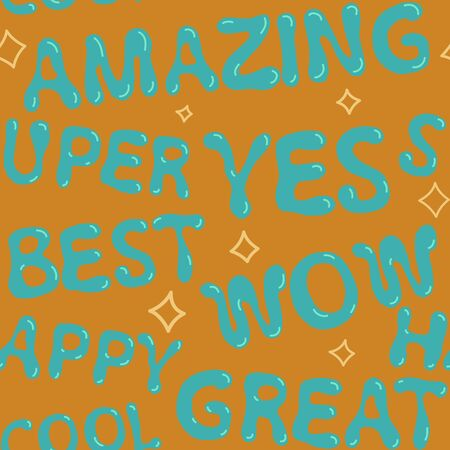 Amazing Super Yes Wow Best Happy Seamless Pattern Stock fotó - 129977473