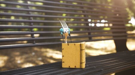 Fork listening to music and reading book in the park. Cutlery objects looks like humans.