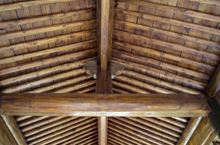 rafter: Interior ridge beam and rafter construction