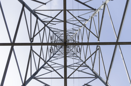metal grid: Low angle view of a pylon Stock Photo