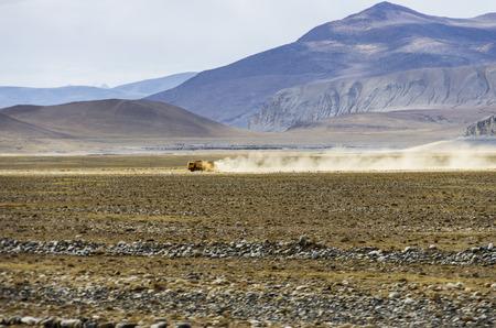 Truck on a desert road