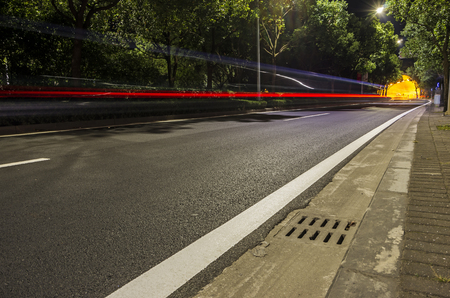 highway road tunnel at night,traffic concept Imagens