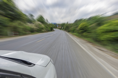 motion blur of the highway road.