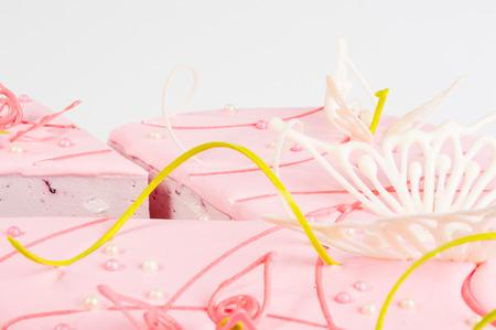 white backing: cake cut