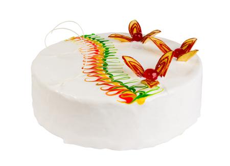 frutas divertidas: Pastel de galleta deliciosa aislada en el fondo blanco