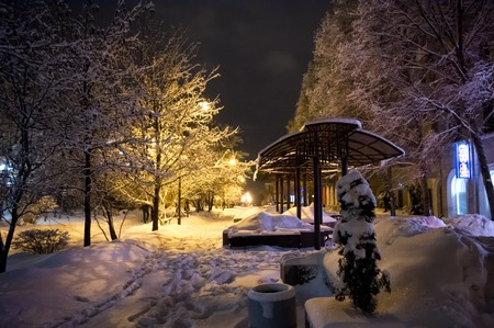 avenues: Avenues of the city Donetsk at winter night. Night. Avenue. Street lamp. A drugstore... A. Blok