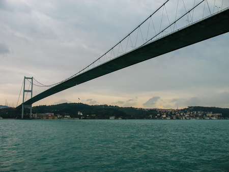 the view from below: the bridge over the Bosphorus on a cloudy day, view from below