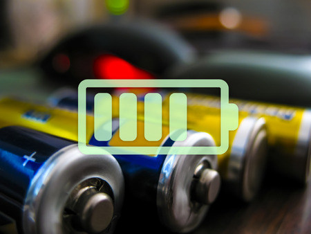 charged: icon charged battery on a colored background Stock Photo