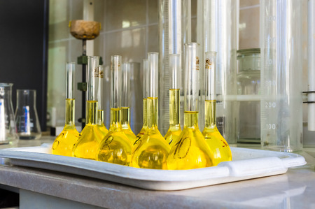 flasks: flasks with reagents in the test laboratory