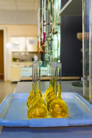 reagents: flasks with reagents in the test laboratory