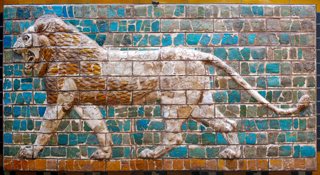 babylonian: Lion on Babylonian mosaic, fragment of the Ishtar Gate in Istanbul, Turkey