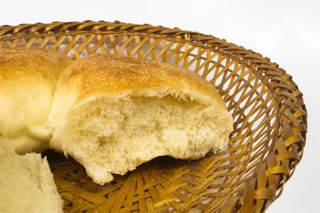 unleavened: broken unleavened wheat cake on a wicker plate Stock Photo