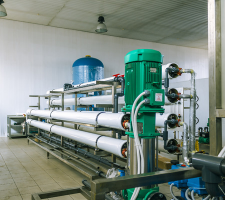 reverse: installation of industrial membrane devices water treatment based on reverse osmosis system Stock Photo