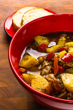 meat soup: traditional thick meat soup with potatoes and vegetables Stock Photo