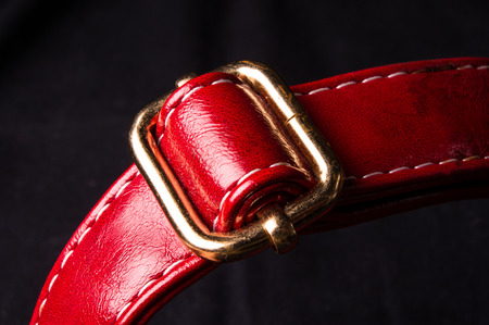 buckle: closeup of the red leather strap with yellow metal buckle Stock Photo