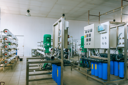 installation of industrial membrane devices water treatment based on reverse osmosis system Stock Photo