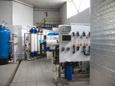 installation of industrial membrane devices water treatment based on reverse osmosis system Archivio Fotografico